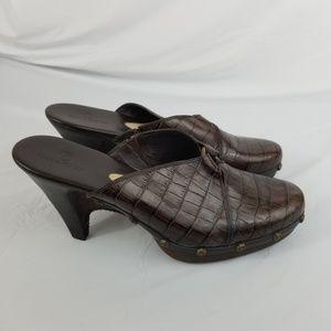 Cole Haan Women Mules Size 10.5 B Brown Croc Print